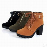 Wholesale Women s Martin boots High Heel Side zipper Shoes Lace Up Ankle Boots