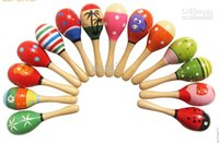 Wholesale Wooden Toy Rattle Cute Mini Baby Sand Hammer baby toys musical education