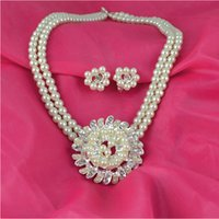 american bridal dresses - Imitation pearl wedding jewelry set necklace and earring set wedding bride jewelry bridal dress party jewelry party set LG175