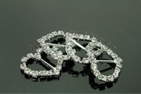 Wholesale Hot Heart Crystal Rhinestone Ribbon Slider Buckles Wedding Invitations X15mm