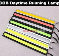Wholesale V Ultra thin COB Chip LED Car Auto DRL Daytime Driving Running Fog Light Lamp