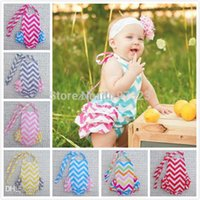 Cheap Wholesale-Ruffled Baby Girl Sunsuit Romper Baby Girls Clothing Set Cut Kids Jumpsuit Cotton Chevron Rompers Free Shipping