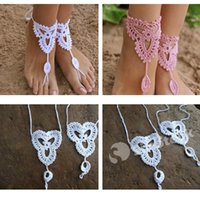 Wholesale Free DHL Jewelry Barefoot Sandals Manual Anklet Bracelet Bracelets women Crochet Ankle Chain for yoga dance Factory Direct In Stock