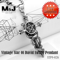 stainless steel cross pendant - New Sale Vintage Star of david Sword stainless steel cross pendant charms reiki fine jewelry STP9