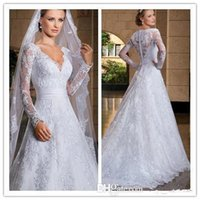 long train wedding dress - 2015 Vintage Wedding Dresses A Line Lace Long Sheer Sleeve V Neck Applique Beaded Sheer Back Court Train Long White Bridal Gowns LX