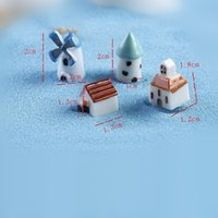 barn houses - Resin House Windmill Barn Mininature Figurine Terrarium Figurine