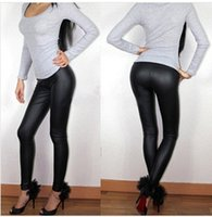 Wholesale Sexy Women S Leather Pants - Spring Summer Women Leggings L XL XXL XXXL Full Length High Waist Middle-rise Elastic Flat Leather Pants Plus Size Sexy Leggings