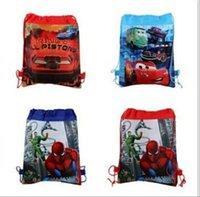 Wholesale 1200pcs colors spiderman Drawstring bags Environmental Swimming bag Back Tote Bag cartoon string bag Non woven shopping bags Frozen z659