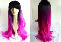 purple black hair color - New Arrival Synthetic body wave Wig Three Tone Color Ombre Style Black Purple Violet to Pink Red Heat Resistant hair Full Wig