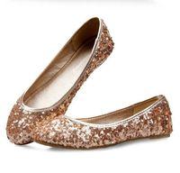 Wholesale Summer Shoes Sweet Princess Bing Metal Paillette Round Toe Flat Lady Shoes Flat Heel Single Shoes