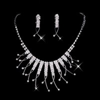 unique jewelry - 2015 Cheap In Stock Unique Wedding Bridal Bridesmaids Rhinestone Necklace Earrings Jewelry Sets For Prom Party