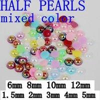 ab circle - New Nail Art Half round Pearls mm colorized AB Half Round DIY Resin Flatback Nail Art Pearl