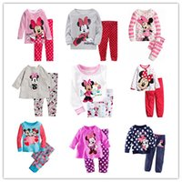 minnie - New Suits Children Clothes New Girls Mickey and Minnie Printing and Long Sleeve Suits Kids Polk Dots Trousers and Round Collar Suits