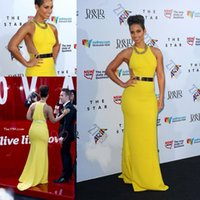 alicia keys red carpet dresses - Alicia Keys Yellow Satin Vintage Sheath Evening Gowns Celebrity Dresses Sleeveless Sexy Halter Neck Gold Sash Floor Length Prom Party