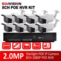 al por mayor sistema de seguridad nvr poe-8CH Sistema de CCTV 1080P POE NVR Kit de grabación de video 2.0MP al aire libre impermeable Bullet Starlight Seguridad Sistema de cámara IP, DayNight Color