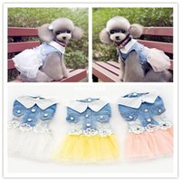 jean dresses and skirts - pet dog dress small dog clother spring and autumn jean skirt pet clothes for dogs puppy cat clothes