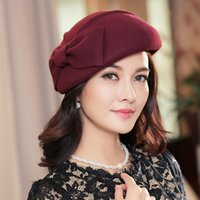 beret s - Winter Woolen Women S Wool Beret Bow Hats Fashion Hat Can Adjust The Size Of British Style Winter Hat Vintage New