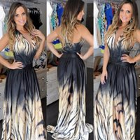 Wholesale Hot Sale Dress For Women Animal Printed Tiger Stripe Halter Long Gown Party Dress Celebrity style Maxi Dress