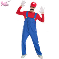 big brother men - christmas cosplay Big Sale Super Mario Luigi Brothers Plumber halloween costume Party Fantasia Cute costumes for men XKT031