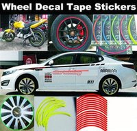 Wholesale Strips M Motorcycle Car Wheel Tire Stickers Reflective Rim Tape Car Styling Lucky Set