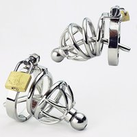 Male male urethra toys - Men Penis Cage Sounding Urethra Stainless Steel Chastity Belt kinds Male Chastity Devices Sex Toys