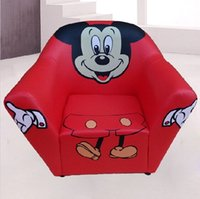 Wholesale Mickey Mouse Kids Seating Bag Sofa Furniture Chair PU Leather Fabric Beanbag Chairs For Children Gest Gifts