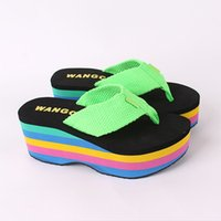 Wholesale Rocket Dog Summer New High Heel Platform wedges thick waterproof bottom flip flops beach shoes