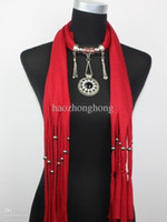 army pendant - WishCart Hot Sale Solid Adult Womens Jewelry Scarfs Design Scarf Diamonds Pendant Scarves Necklace Tassels Yarn Dyed