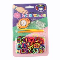 Cheap DIY Colorful Loom Watch Rainbow Kits Rubber Bands Silicone Bracelet Watch Set with Orange Color