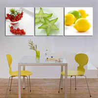 Cheap 3 Piece Hot Sell Modern Wall Painting beautiful kitchen fruit modern picture Home Decorative Art Picture Paint on Canvas Pure ha