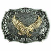animal prey - Western Antique Silver Engraved Flower Gold Bird of Prey D Eagle Belt Buckle