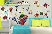 Cheap New Avengers large wall stickers 60*90cm boy bedroom dorm decorating children's Day gifts Avenger Superman wall stickers christmas decor 1p