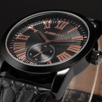 Wholesale Agent X Le Charme Fatal Black Gold Stainless Steel Case Leather Band Reloje Analog Steel Band Men Quartz Casual Watch AGX091
