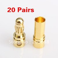 Wholesale 40x mm Gold plated Bullet Connector Banana Plug RC Battery