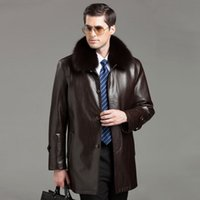 leather and fur garment - Fall Men s Genuine Leather Jackets And Coats Winter Sheepskin Fashion Long Style Fur Coat Brand Nick Garment Fox Fur Collar