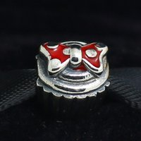 cupcake charm - 925 Sterling Silver Minnie Cupcake Charm Bead with Red Enamel Fits European Pandora Jewelry Bracelets Necklaces Pendants