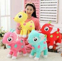 Wholesale 30cm Kawaii Giraffe Blue Pink Red Yellow Stuffed Animals Plush Toys Children Kids Boys Girls Dolls Deer Stuff Plushed Toy D3063