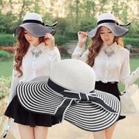 straw hats for women - Fashion Women Straw Beach Hats for Women Wide Brim Stripes Bow Floppy Cap Gorro Summer Beach Bohemia Headwear Summer Hats Black GA0063