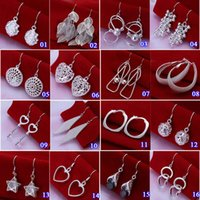 Wholesale 2015 New sterling silver charm earrings for women girls fashion jewelry wedding plated silver stud earring pairs E000