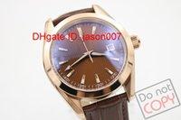 arab ladies - Luxury Brand NewDark Brow Arab Number Dial Golden Bezel Dark Brow Band Ladies Watch Date Watch mens Sports Wrist Watches