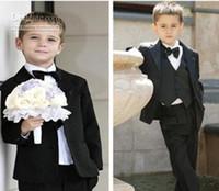 Wholesale Solid black boys Wedding suits Formal Party Tuxedo suit Groom Jacket Pants bow tie necktie vest Dress Suit