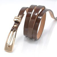 Wholesale Fashion Women Belt Skinny Waist Belt Thin Leather Metal Buckle Narrow Waistband For Lady Girl WF291