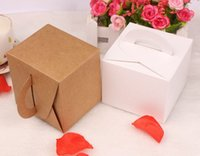 Wholesale DIY white paper card Party Cupcake Boxes kraft cake box with Round Handle size cm