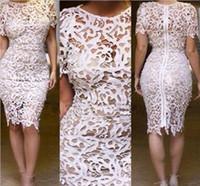 Cheap New Women White Lace Dress Bandage Mini Dress Sexy Celebrity Party Dresses Zipper Back Crochet Plus Szie 4 Color 5 size S M L XL XXL B368