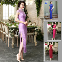 Wholesale Long Cheongsams Qipao Plus Size sexy Lace Dress slender figure Chinese Traditional Dress short sleeve long dresses drop shipping