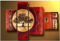 asian wall decor - 4PC Asian art style Modern Abstract Art Oil Painting Wall Decor canvas No Framed