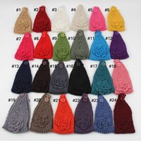 Wholesale knitting wool Woolen Crochet hair band winter warm camellia rose Flower women girl children Headbands color