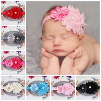 Wholesale Hot sales inch New goods Baby girl headbands rose flower hair accessories pearl headdress infant baby hair headband colors mixed