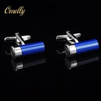 Wholesale Luxury Bright Color Man Cuff Links Cylinder Shirt Suit Cufflinks Best Man Gift in Bulk