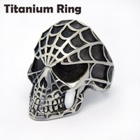 Wholesale 2015 Hot Sale High Qualiyu Titanium Ring For Men Spider Skull Ring Punk Exaggeration Hip Hop Style Men Jewelry Pub Mens Rings
